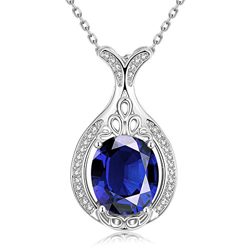 SDLM Clear Oval Austrian Crystal Lovely Mermaid Charm Pendant Necklace Gift(blue)