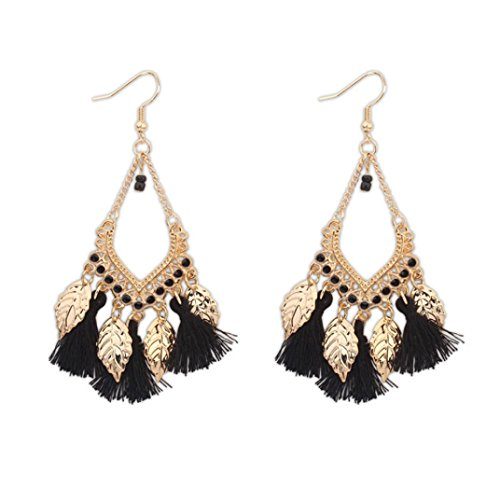 Tassel Earrings for Women, Staron 1 Pair Bohemian Tassel Metal Leaves Earrings Elegant Retro Eardrop Jewelry Gift (D❤️) (Gold 14k Yellow Glitter)