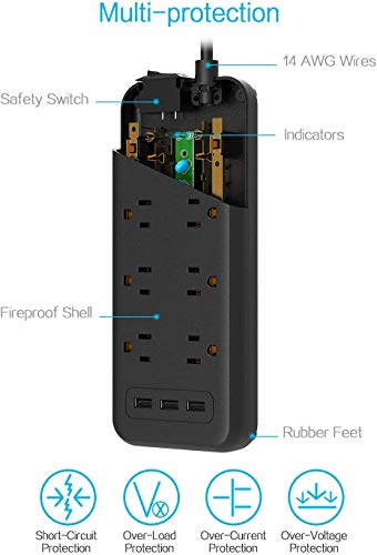 Surge Protector Power Strip, TESSAN 8 Outlets and 3 USB Ports 5Ft Long Extension Cord Flat Plug, 1875W/15A, 1700 Joules, Wall Mountable for Home, Office, School and Dorm Room Essentials, Black