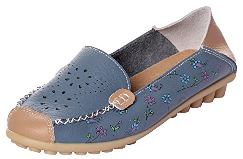 Blue MEWOOCUE On Penny Loafer Driving Women's Leather Flat 2 Shoes Loafers Casual Moccasins Slip pCx7UqpS