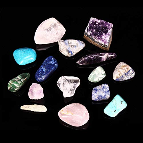 Natural Stone Collection Box Mix Gems Crystals Mineral Specimens Rock Decoration - Lab & Scientific Supplies Science Education - 1 Pcs Stone Collection Box