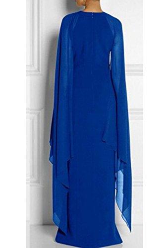 Le Di Blu Maxi Ballo Donne Vestito Elegante Tagliata Parte Chiffon RrROqUZ