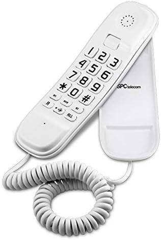 SPC Original Lite teléfono fijo color blanco sobremesa y mural fácil de usar con 2 memorias directas, rellamada al último número marcado y función mute