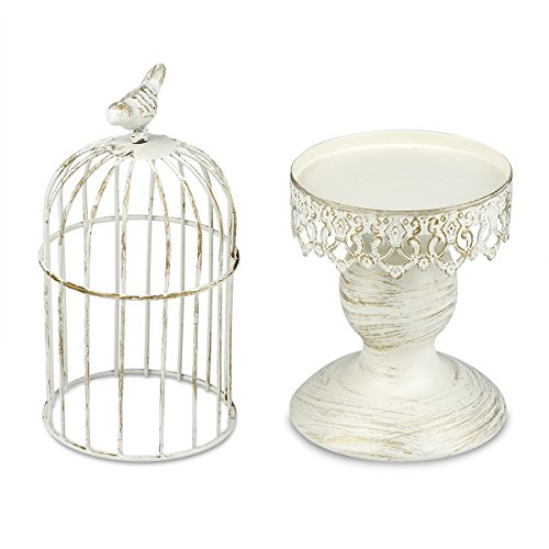 Birdcage Candle Holder Wedding Party Centerpiece Home Decor,Tables Iron Candlestick,Bar Cafe Restaurant Ornament(Birdcage-White)