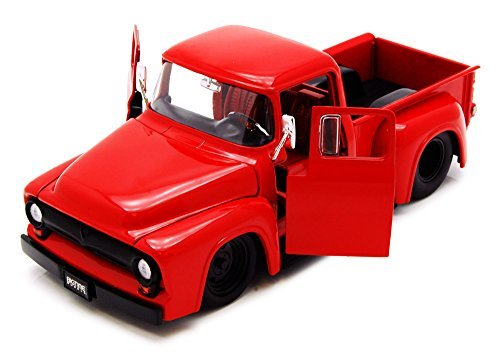 1956 Ford F-100 Pickup Truck, Red - Jada Toys Bigtime Muscle 90487 - 1/24 scale Diecast Model Toy Car (Brand New, but NO BOX) (F100 56 Ford Pickup)