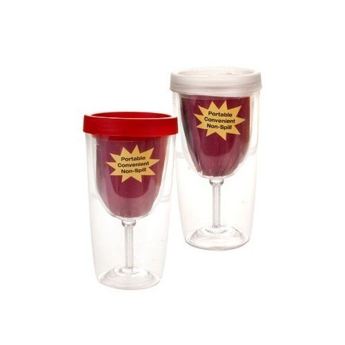 Double Walled Acrylic (Acrylic Wine Glass Tumbler  Insulated Double Walled Cups with Spill Proof Drink Through Lid   9 Ounce Set of 2)