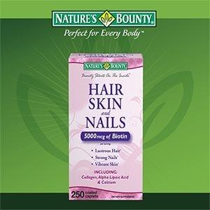 Nature Peau Cheveux et Ongles Bounty 5000 mcg de biotine par portion - 250 comprimés enrobés