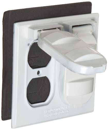 Morris Products 37212 Weatherproof Cover, Two Gang, 2 Duplex Receptacle, White