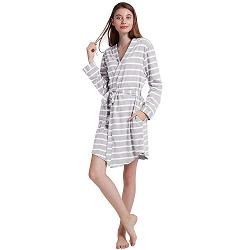 - ENIDMIL Women's Cotton Robes Short, Kimono Bathrobe Lightweight Sleepwear Long Sleeves Stripe Solid (Gray Stripe, S)