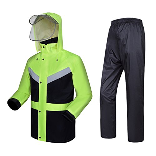 (Majing Rainsuit- Rainwear Rain Suit for Men Reusable (Rain Jacket and Rain Pants Set) Adults Rainproof Windproof Hooded Outdoor Work (Size : XXL))