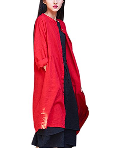 Lentta Women's Oversized Maxi Long Linen Button Down Shirt Dress with Pockets (Free Size, Red)