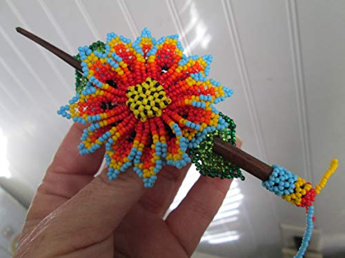 Hand beaded orange red yellow turquoise flower floral Guatemalan Fair trade design hair clip wood wooden stick barrette glass seed beads regalia pow wow Guatemala Native American design style beadwork