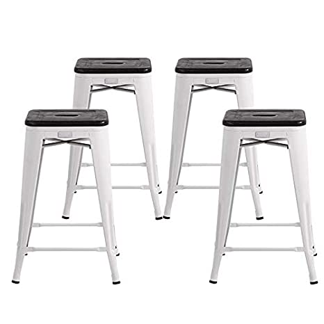 Incredible Buschman Metal Bar Stools 24 Counter Height Indoor Outdoor And Stackable Set Of 4 Matte White With Premium Wooden Seat Short Links Chair Design For Home Short Linksinfo