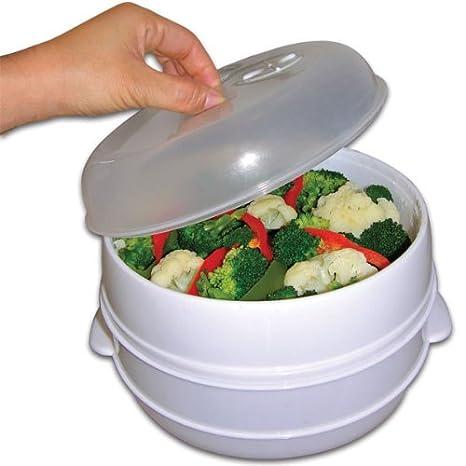 Amazon.com: 2 Tier Microondas Vapor Alimentos Cocina as seen ...