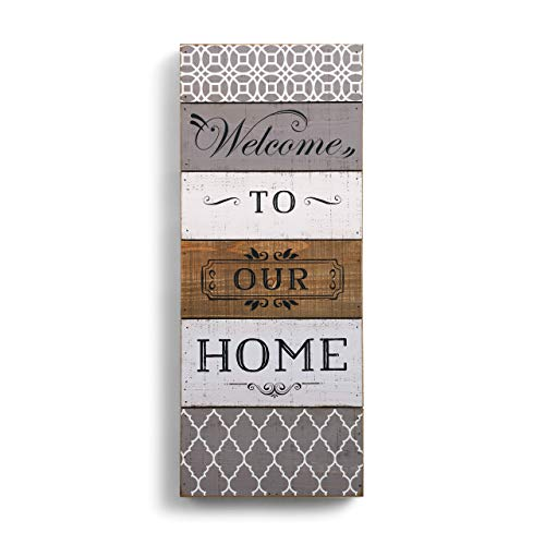 DEMDACO Welcome to Our Home 9 x 22.5 Fir Pallet Wood Painted Wall Art Plaque ()