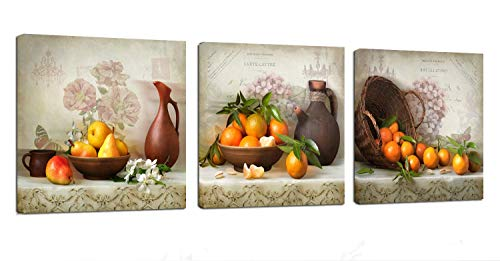 Kitchen Canvas Wall Art Vintage Fruits Flowers Artwork - 12