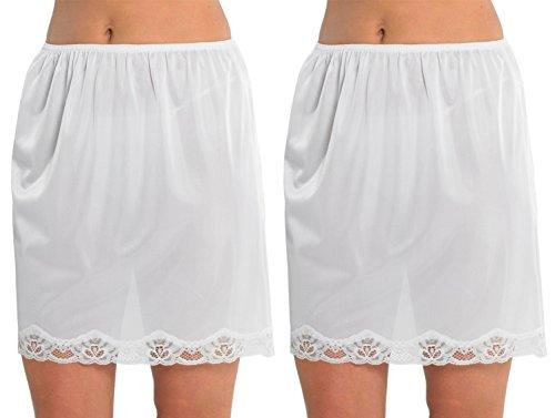 2 Paquetes De Mujeres Enaguas De La Resbalón Con Encaje Resistente A La Adherencia, Longitud De 18 Pulgadas (45cms), Varios Colores Y Tamaños Blanco