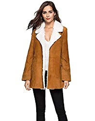 Chartou Womens Fleece Lined Spread Collar Sue Leather Long Jacket Trench Coat Outwear Brown Medium