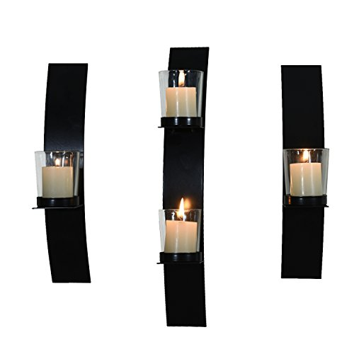 Adeco Decorative Iron Vertical Candle Tealight Pillar Holder Wall Sconce, Modern Style, Classy Home Decor Accents (Set of Three Value Pack)