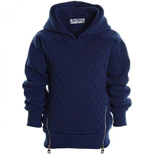 Kinder Pullover Kapuzenpullover Hoodie Jacke Sweatshirt Kapuzen Sweatjacke 20526, Farbe:Navy;Größe:140