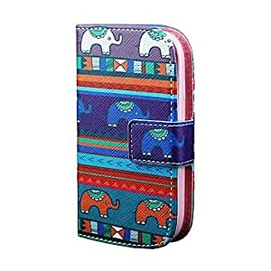MOM Tribal Elephant Pattern PU Leather Full Body Case Cover for Samsung S3 Mini I8190N