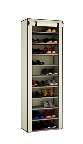 Home-Like 10 Tiers Shoe Rack with Fabric Cover Shoe Closet Shoe Cabinet Storage Organizer Shoe Tower Space Saving Organizer 30 Pairs Shoes L24.01''xW12.2''xH 67.7'' (Beige-10 - Home Rack Storage