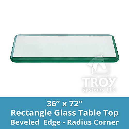 36x72 Inch Rectangle Glass Table Top 3/8 Inch Thick Bevel Polished Edge Radius Corners Tempered (Dining Table 72 X 36)