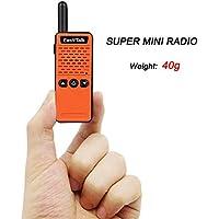 EasyTalk ET-M 2 Mini Walkie Talkie 16 channel UHF 400-520MHz FRS / GMRS / Ham Two Way Radio Transceiver for kids /Girl /Boy (Orange/Black)