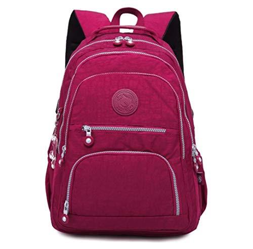 Nylon Casual Travel Daypack Lightweight Sports Laptop Backpack Purse for Women Waterproof Medium Work College School Bag for Girls (Burgundy) (Best Waterproof Daypack For Travel)