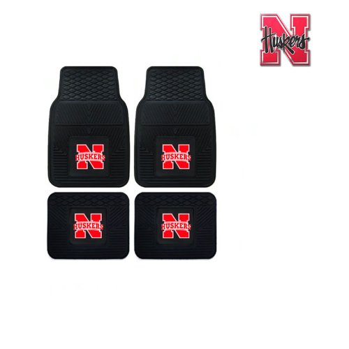 A set of 5 Piece Automotive Gift Set: 2 Front and 2 Rear All Weather Floormats and 1 Aluminum Decal - Nebraska State Cornhuskers