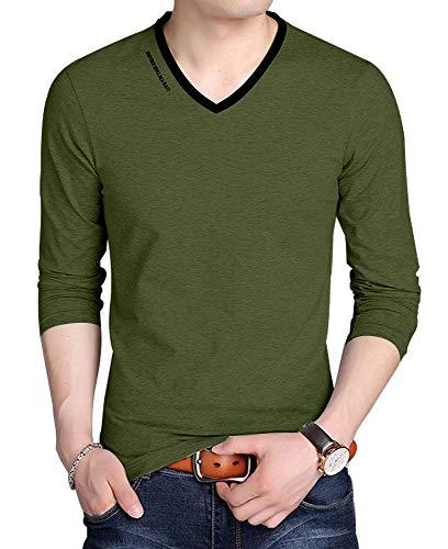 bd1950aa JNC Men's V Neck Casual Slim Fit Long/Short Sleeve Fashion Printed T-Shirts