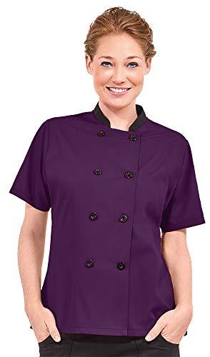 Women's Lightweight Short Sleeve Chef Coat (XS-3X, 3 Colors) (Medium, Eggplant/Black)