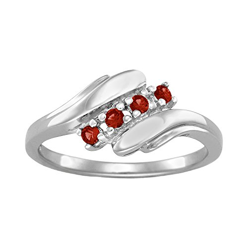ArtCarved Love Promise Simulated Garnet January Birthstone Ring, 10K White Gold, Size 7