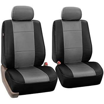 FH-PU002-1102 Classic Exquisite Leather Bucket Seat Covers, Airbag compatible, Grey / Black color