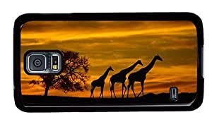 Hipster retro Samsung Galaxy S5 Case giraffes silhouette PC Black for Samsung S5