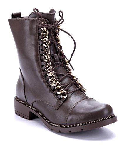 Schuhtempel24 Damen Schuhe Boots Stiefel Stiefeletten Blockabsatz Reißverschluss 3 cm Khaki