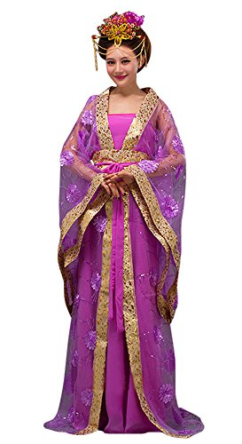 CRB Fashion Womens Ladies Stunning Asian Oriental Chinese Dynasty Ming Qin Han Xia Dress Costume with Head Accessories (Lilac)]()