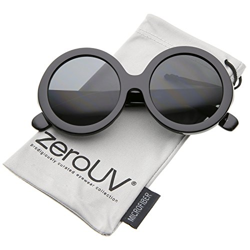 Retro Chunky Frame Tinted Lens Oversize Round Sunglasses 53mm (Black/Smoke) (Sunglasses Couture Inspired)