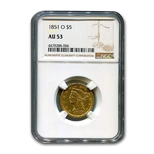 1851 O $5 Liberty Gold Half Eagle AU-53 NGC G$5 AU-53 NGC