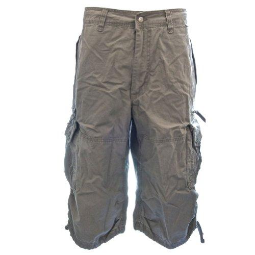 Mens Knee Hugger Cargo Shorts 45046   100  Cotton Premium Longer Durable Cargos  35  M L Sunset Shadow Grey