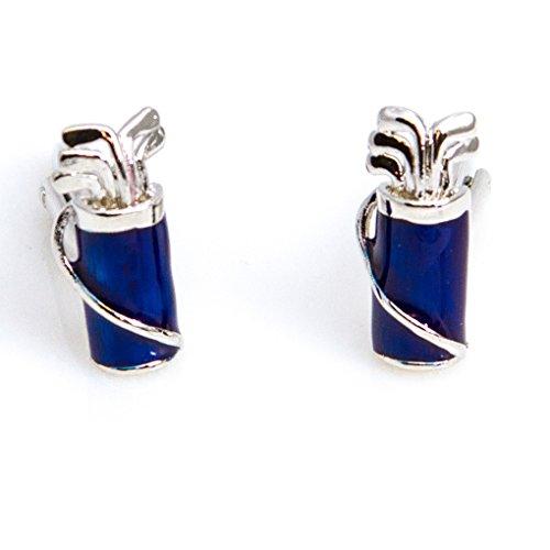MRCUFF Golf Clubs & Bag Golfer Blue Cufflinks in Presentation Gift Box & Polishing Cloth