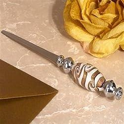 Chic Murano art golden swirls letter opener From FavorOnline