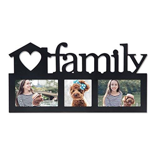 (Deco De Ville 3 Opening Family Theme Wood Decorative Puzzle Collage Picture Photo Frame, Wall Hanging, Black)