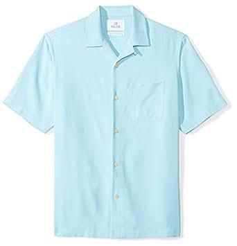 28 Palms Men's Relaxed-Fit 100% Silk Camp Shirt, Aqua, X-Small