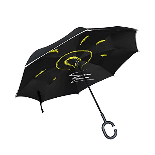 Double Layer Inverted Bulb Light Idea Electricity Incandescent Energy Umbrellas Reverse Folding Umbrella Windproof Uv Protection Big Straight Umbrella For Car Rain Outdoor With C-shaped Handle - Inverted Led Bulb