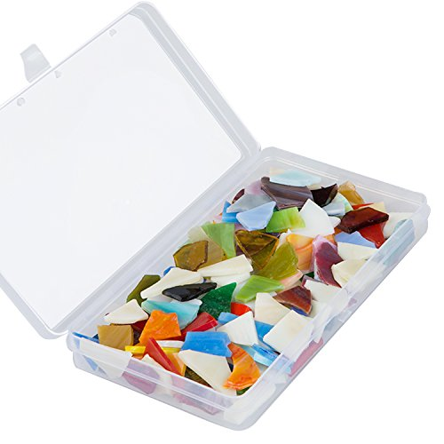Resinta 300 g/ Pack Multicolor Mosaic Tiles Mosaic Stained Glass with Plastic Box for Art Crafts or Home Decoration, Irregular shapes (Green Stained Glass Mosaic Tile)