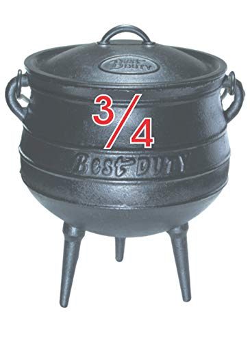 Best Duty #7072 Cast Iron Potjie Pot Size 3/4 w/Lid Lifter Knob