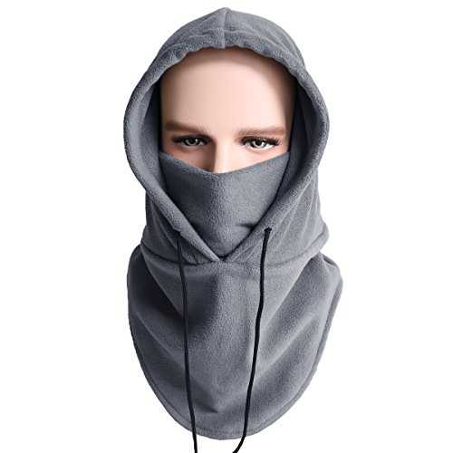 Balaclava Ski Mask Cold Weather Face Mask Neck Warmer Fleece Hood Winter Hats (Gray)]()