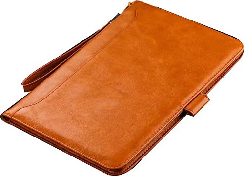 iPad Air/Air2/2017 New iPad/pro 9.7 inch Case- Leather Smart Stand Folio Business Case Cover with Card Slots,Kickstand,Document Pocket,Pencil Holder,Elastic Hand Strap(light brown)
