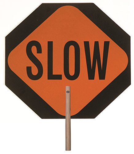 Safety Flag Stop Slow Aluminum Paddle Sign (Double-Sided), 14 ()